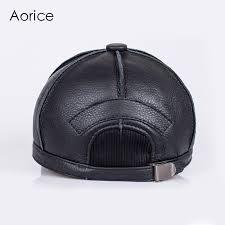 hl028 genuine leather men baseball cap hat new brand men s real leather solid adjustable hats caps