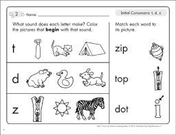 Free printable preschool worksheets tracing letters. Initial Consonants T D Z Phonics Learning Mats Printable Skills Sheets