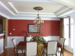 Dinning Room Maroon Walls Dark Wood Stained Trim Cream - Dining room paint colors dark wood trim