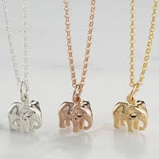 silver rose and gold elephant necklace by lily charmed