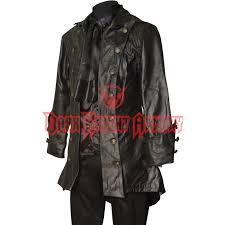 gothic black leather pirate jacket