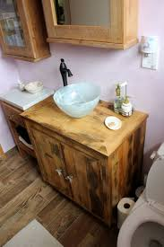 furniture fantastic reclaimed pine bathroom vanities for wood plank cabinets with white frosted glass vessel sink
