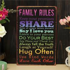 family rules retro metal painting sheet metal drawing home poster sign tin wall decor