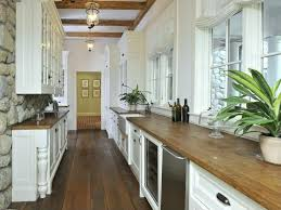 white galley kitchens. White Galley Kitchen With Natural Wood Countertops White Kitchens