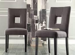 chairs for dining room set of 2 kitchen modern upholstered grey linen back ebay
