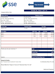 Download Invoice Template Excel Format PNG