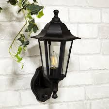 searchlight coach lantern outdoor wall light with pir sensor black
