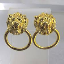 lion door knocker earrings back clip on lion head earrings