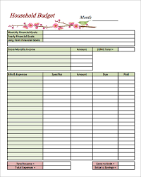 Printable Household Budget Worksheets Blank Household Budget Sheet Under Fontanacountryinn Com