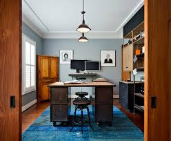 carpet for home office. Industrial Office Desk Home With Blue Carpet Crown Molding. Image By: Corine Maggio Natural Designs For R