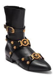 Versace Leather Buckle Harness Mid Boot Nordstrom Rack