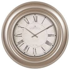 30 glenmont wide silver framed roman numeral wall clock traditional wall clocks by pinnacle frames