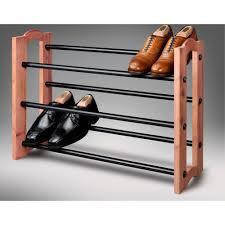 Shoe Rack Woodlore Expandable 3 Tiered Cedar And Metal Shoe Rack 82704 The