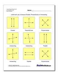 20 basic geometry worksheets labelling lines as parallel perpendicular