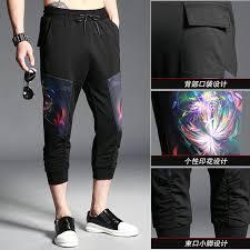 Patterned Joggers Unique 48 Summer Cotton Pants Men Fashion Calf Length Pants Drawstring
