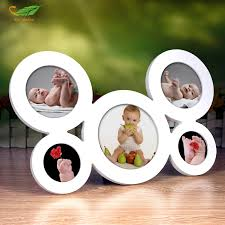 baby collage frame 5pcs set connect baby photo frame circular wood pictures frames