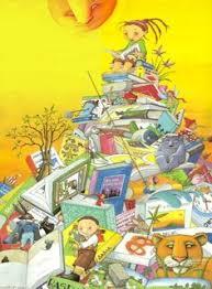 a mountain of books to read and share una montaña de libros para leer y