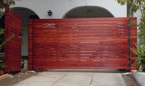 10 wide single horizontal wood driveway gate matching pedestrian gate los angeles