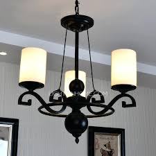 3 light simple rustic chandeliers with glass shade wrought iron intended for rustic wrought iron chandelier