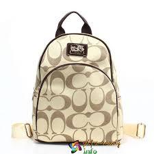 Brillant Coffee Coach Logo Monogram Small Apricot Backpacks