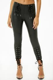 faux leather lace up capri pants