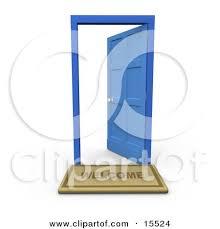 open front door welcome. Welcome Door Mat In Front Of An Open Blue Clipart Illustration Image By 3poD T