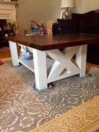 brown and white chunky farmhouse coffee table