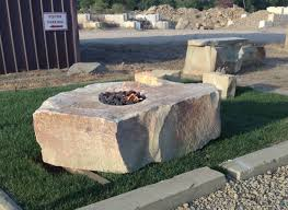 outdoor stone fire pit. Natural Stone Fire Pit Outdoor Fireplace Gas Rock Pits