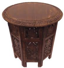 cotton craft jaipur solid wood hand carved folding accent coffee table