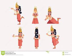 Apsara Design Khmer Apsara Traditional Dance Posture Flat Design Stock