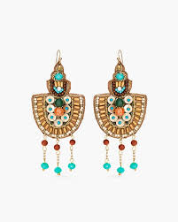 beaded fan chandelier earrings