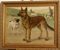 1920 dog portrait painting dogs posing in landscape with hunting scene dogs in the background by highly listed european master museum quality