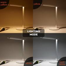 taotronics led desk lamp 12w dimmable touch control 5 color modes usb charging port white com