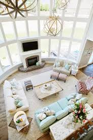 living room with coffee table from above