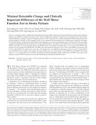 pdf minimal detectable change and clinically important difference of the wolf motor function test in stroke patients