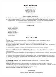 Insurance Claims Representative Sample Resume