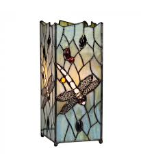 dragonfly tiffany table lamp with multi coloured shade