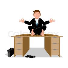 meditation office. Businessman Meditating On Table. Manager Sitting In Lotus Position. Meditation Money. Financial Yoga. Enlightenment Office Worker | Stock Vector T