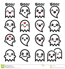 Kawaii Cute Ghost Halloween Icons Set