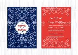 Wedding Invitation Card Template Marine Vector Nautical Save The ...