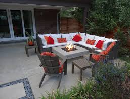 Wicker Patio Furniture Around Custom Fire Pit Contemporary