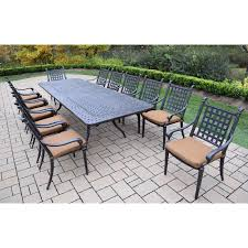 oakland living belmont 13 piece extendable patio dining set with stackable chairs com