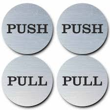 signage push pull signs round door sign 2 sets