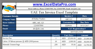 Tax Invoice Examples Download Uae Vat Tax Invoice Excel Template As Per The