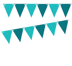 Triangle Banner Teal Polka Dot Solid Teal 10ft Vintage Pennant Banner Paper Triangle Bunting Flags For Weddings Birthdays Baby Showers Events Parties