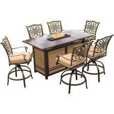 traditions 7 piece aluminum rectangular outdoor high dining set with fire pit with natural oat