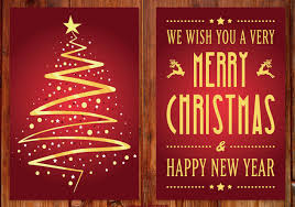 Christmas Card Images Free Beautiful Red And Gold Christmas Card Free Vector Download 410267