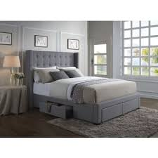 king size bed with storage. Simple Storage Oliver U0026 James Roth Grey Linen Wingback Storage Bed On King Size With S