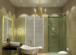Bathroom:Contemporary Classic Bathroom Lighting Idea With Gold Chandelier  Above Claw Foot Bathtub Bathroom Lighting