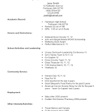 Sample Resume College Application College Resume Examples For High Amazing Resume For College Application
